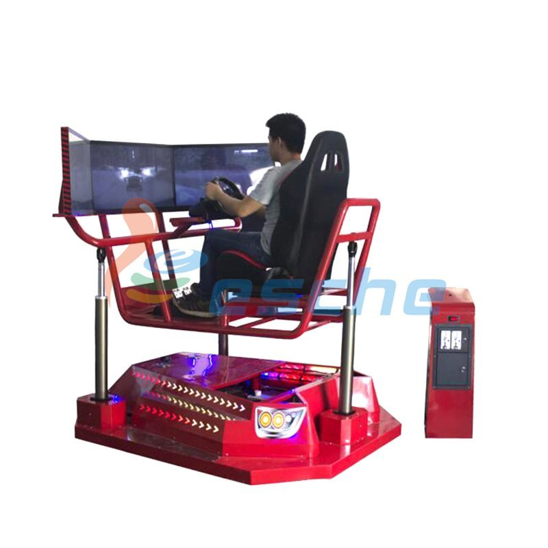 Coin-operated 360 rotating car driving simulator with 3 screens